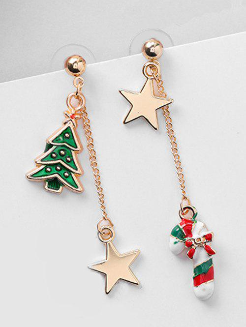 Christmas Asymmetric Candy Cane and Star Earrings - RED
