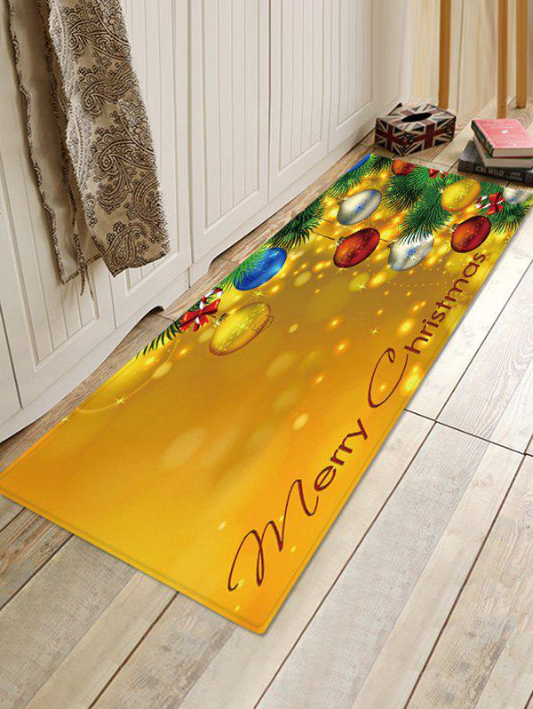 Christmas Balls Patterned Water Absorption Floor Rug - multicolor W16 X L47 INCH