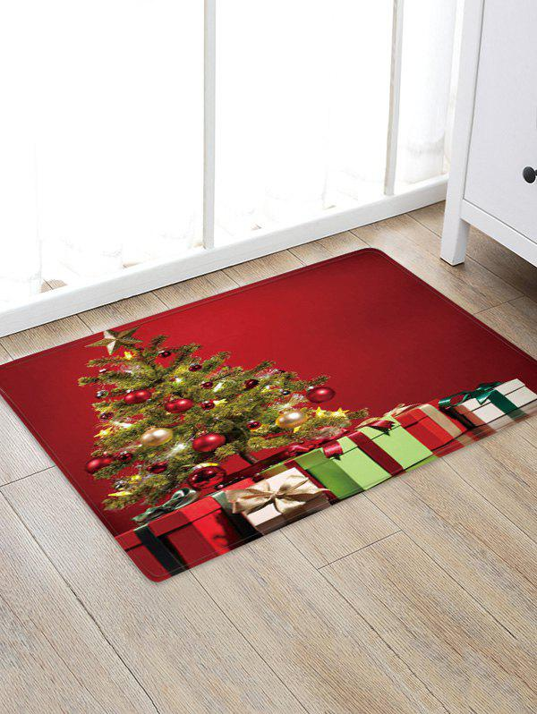 Christmas Tree Gifts Pattern Anti-skid Water Absorption Area Rug - multicolor W24 X L35.5 INCH