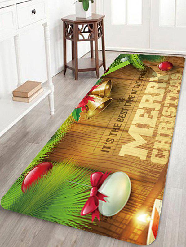 Christmas Bells Blessing Pattern Water Absorption Area Rug - multicolor W16 X L47 INCH