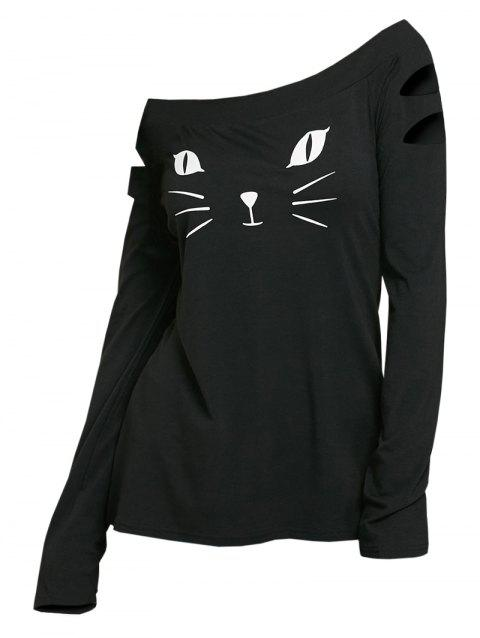 b5b84005 53% OFF] 2019 Cat Face Printed Ripped Long Sleeve T-shirt In BLACK ...