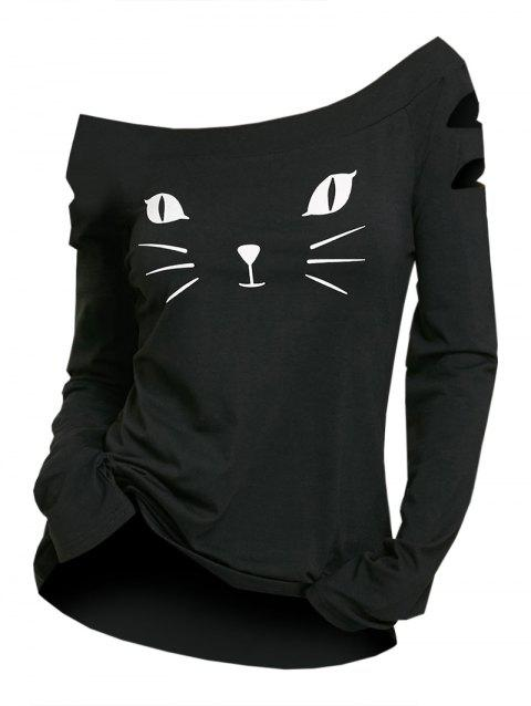 Cat Face Printed Ripped Long Sleeve T-shirt - BLACK L
