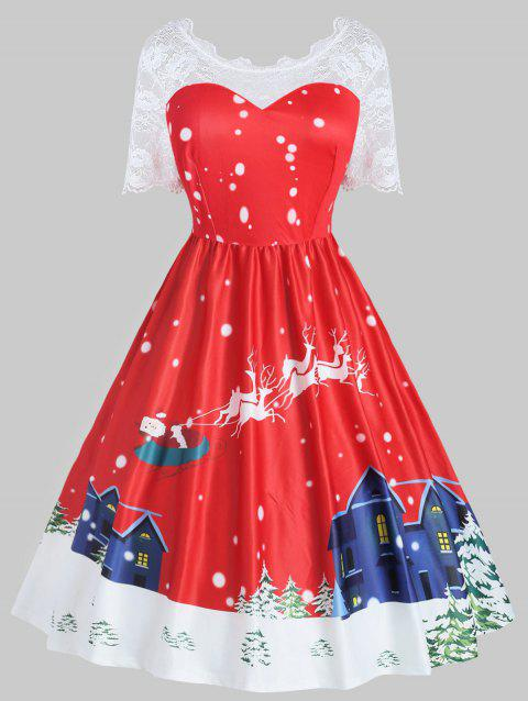 Plus Size Vintage Lace Panel Christmas Printed Flare Dress - RED 1X
