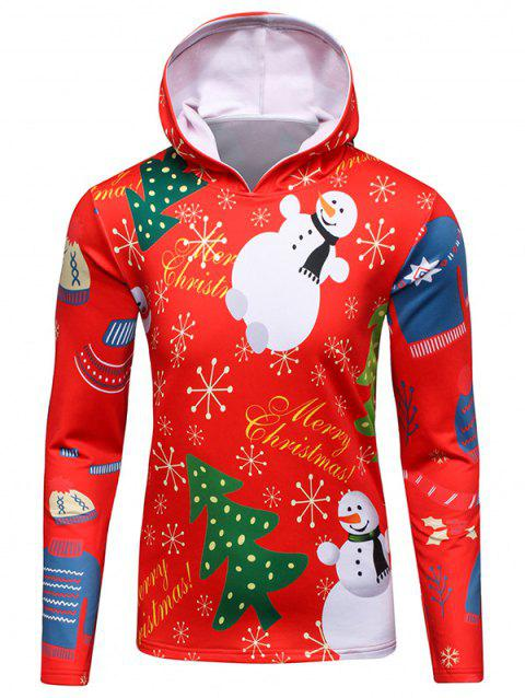 Hooded 3D Christmas Tree and Snowman Print Flocking Hoodie - RED L