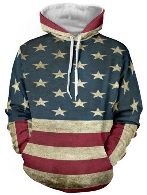 Distressed American Flag Color Panel Pullover Hoodie - DEEP BLUE L