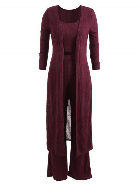 Tank Top with Knitted Palazzo Pants and Cardigan Three Piece Suit - FIREBRICK M