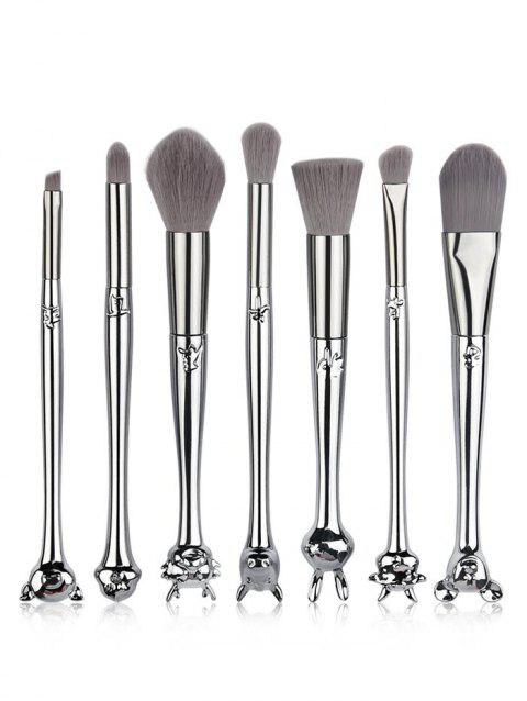 7 Pcs Chinese Zodiac Handles Soft Hair Travel Cosmetic Brush Suit - SILVER