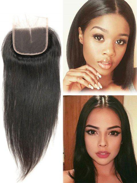 1Pc Straight Human Hair Malaysian Hair Weave with Closure - NATURAL BLACK 10INCH