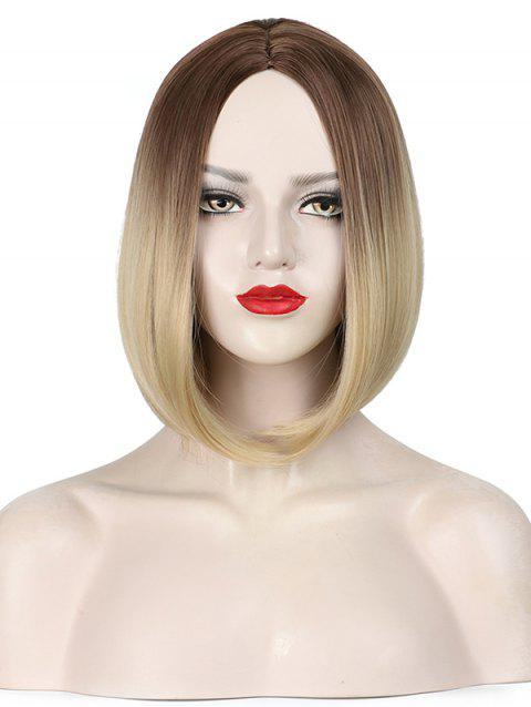 Short Ombre Center Parting Capless Straight Bob Synthetic Wig - multicolor