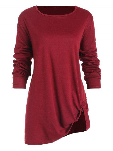 a760b0baee2 LIMITED OFFER  2019 Asymmetric Knotted Long Sleeve Plus Size Top In ...