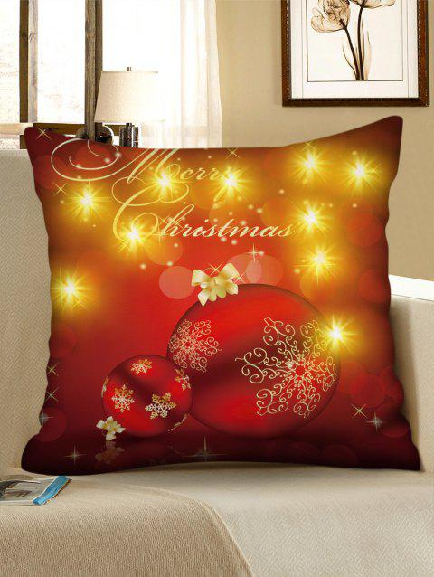 Merry Christmas Ball Print LED Light Pillowcase - RED W18 X L18 INCH
