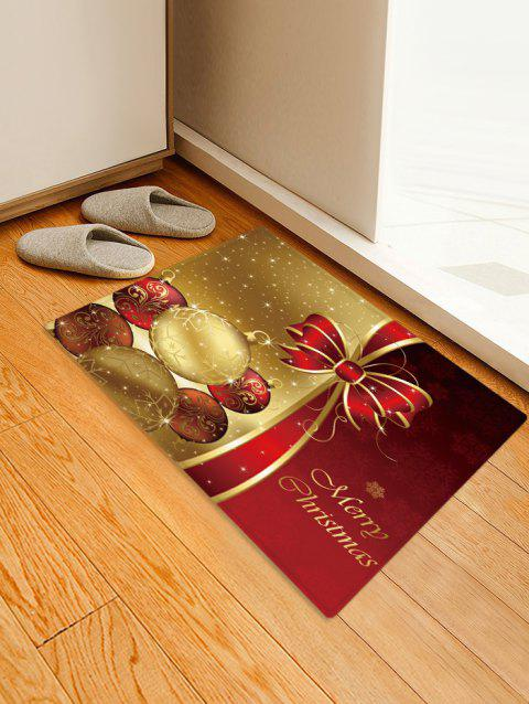 Christmas Balls Bowknot Pattern Water Absorption Area Rug - multicolor W16 X L24 INCH
