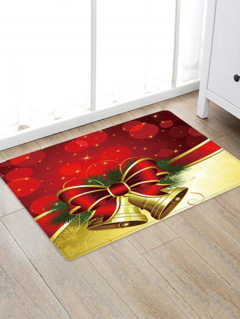 Christmas Bowknot Bells Pattern Water Absorption Floor Rug - multicolor W24 X L35.5 INCH