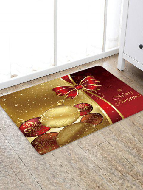 Christmas Balls Bowknot Pattern Water Absorption Area Rug - multicolor W24 X L35.5 INCH