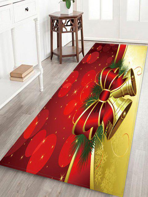 Christmas Bowknot Bells Pattern Water Absorption Floor Rug - multicolor W24 X L71 INCH