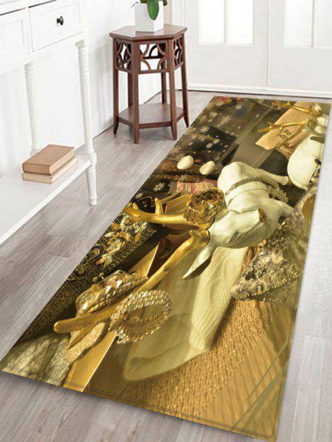 Christmas Elk Pattern Water Absorption Area Rug - multicolor W24 X L71 INCH