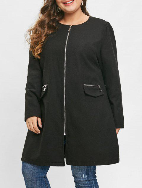 Plus Size Zip Fly Woollen Coat - BLACK 4X