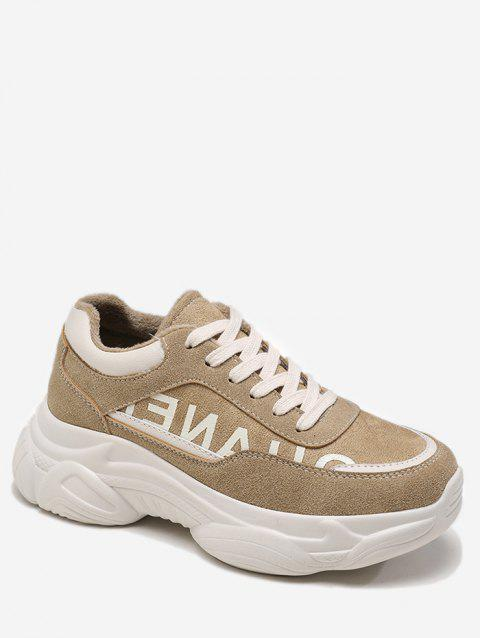 Letter Print Chunky Running Sneakers - LIGHT KHAKI EU 38
