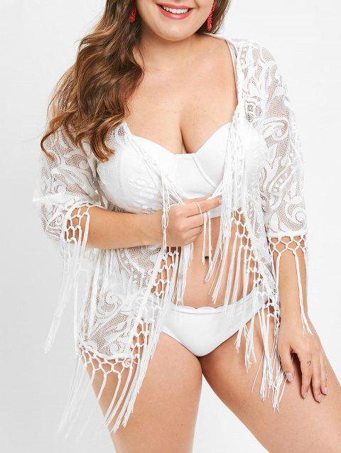Plus Size Fringed Lace Cover Up - WHITE L