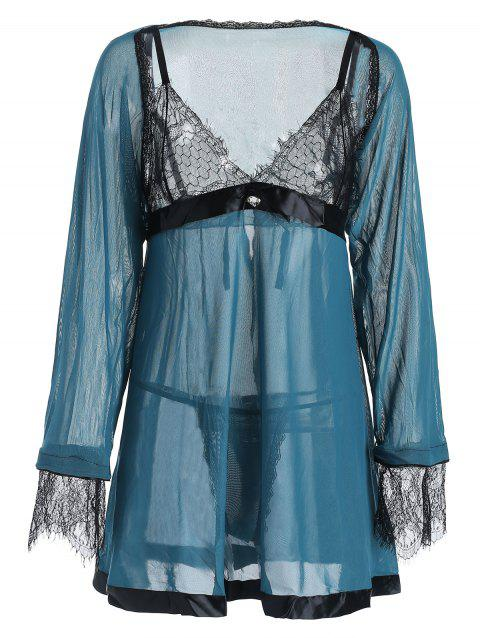 Plus Size Lace Panel Slit Babydoll with Cape - PEACOCK BLUE 4X