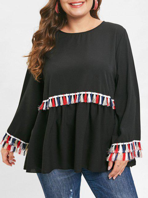 Plus Size Tassel Trim Round Neck Blouse - BLACK 3X