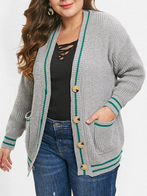 Button Detail Plus Size Front Pockets Cardigan - LIGHT GRAY ONE SIZE