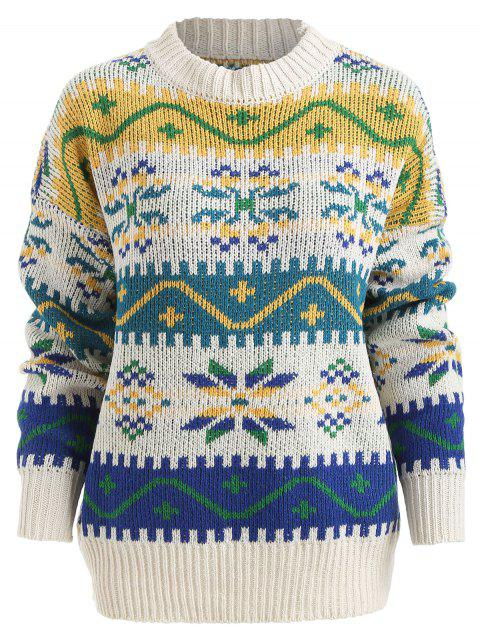 Christmas Jacquard Pullover Sweater - MILK WHITE ONE SIZE
