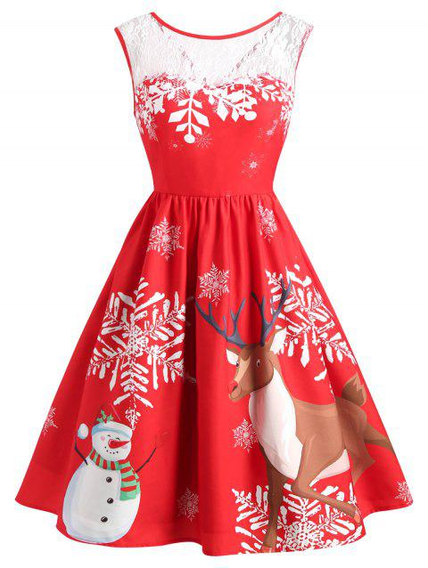 Lace Insert Christmas Elk Print Dress - LAVA RED 2XL