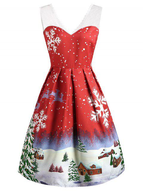 V Neck Christmas Snowflake Print Dress - LAVA RED M