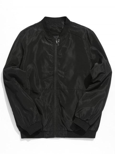 Stand Collar Lightweight Solid Color Jacket - BLACK 3XL