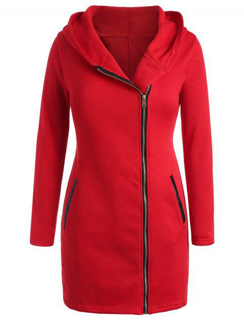 Plus Size PU Panel Zipper Fly Hooded Coat - RED L