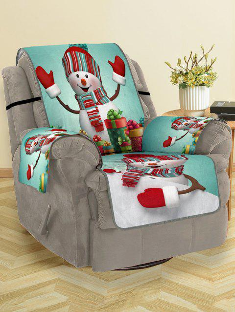 Christmas Snowman Gifts Pattern Couch Cover - multicolor SINGLE SEAT