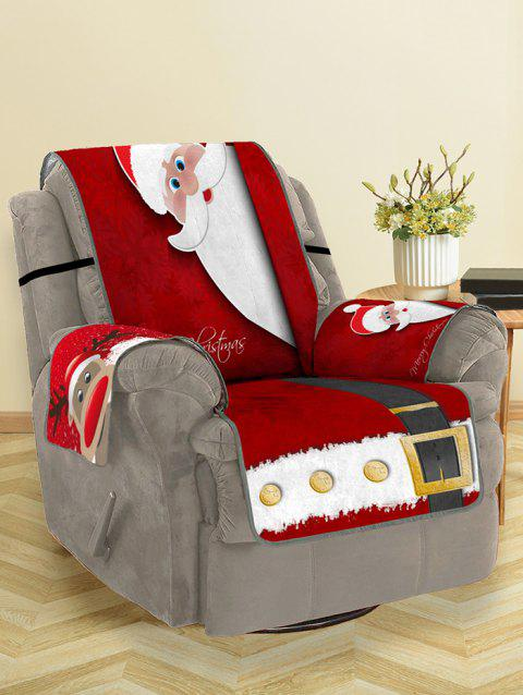 Christmas Elk Santa Claus Pattern Couch Cover - RED SINGLE SEAT