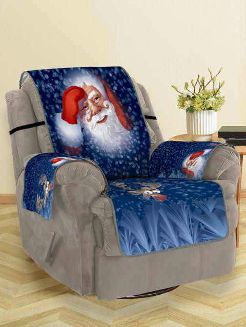 Christmas Elk Santa Pattern Couch Cover - multicolor SINGLE SEAT