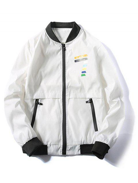 Coloful Veste Zip Fly Imprimée Nombre - Blanc M