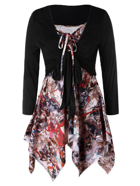 958fff84f61 LIMITED OFFER  2019 Plus Size Floral Print Handkerchief Top With ...