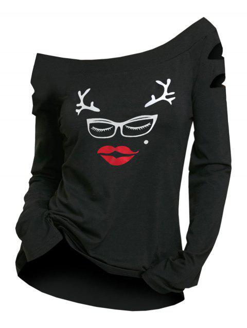 Cut Out Sleeve Christmas Graphic T-shirt - BLACK S