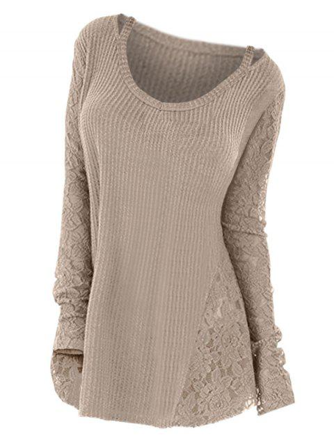 Plus Size Long Sleeves Lace Panel Cutout Tee - LIGHT KHAKI 2X