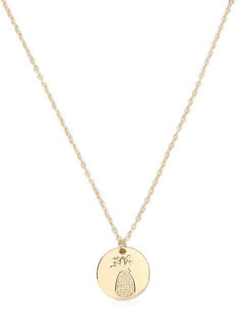 Novelty Pineapple Print Coin Necklace - GOLD