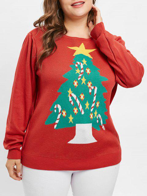 Plus Size Christmas Tree Long Sleeves Sweater - RED 1X