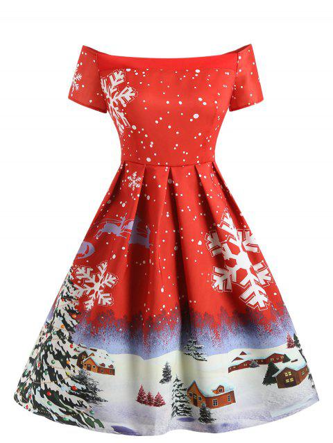 Vintage Christmas Snowflake Print A Line Dress - LAVA RED M