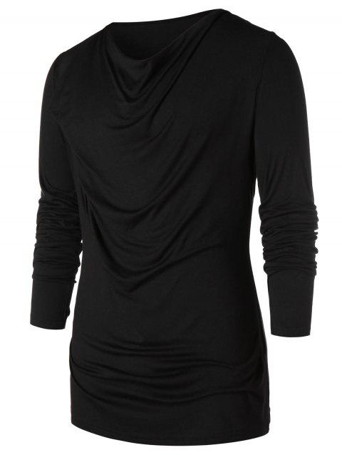 Long Sleeve Pile Heap Collar T-shirt - BLACK M