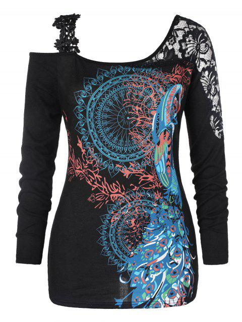 c69e5c7f12b LIMITED OFFER  2019 Plus Size Tribal Print Cold Shoulder T-shirt In ...