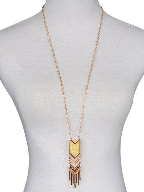 Geometric Design Long Sweater Necklace - GOLD