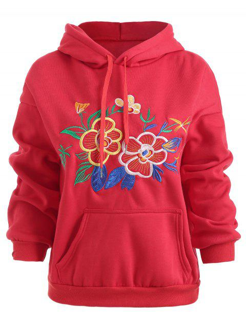 Flower Embroidered Drawstring Fleece Hoodie - LAVA RED L
