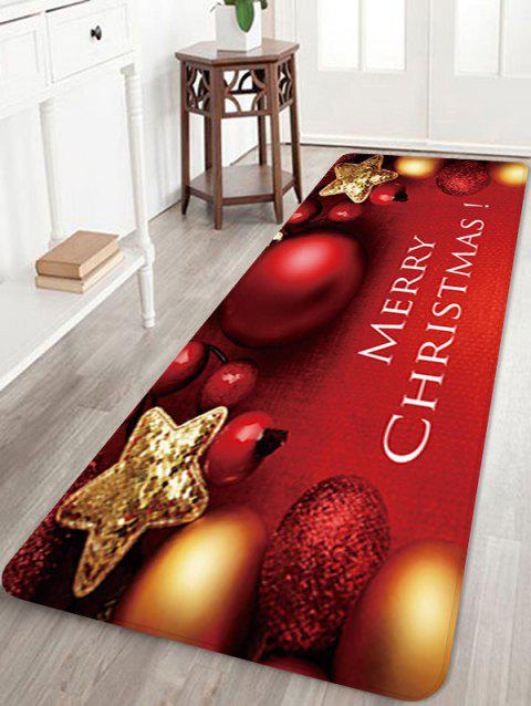 Christmas Star Bells Pattern Water Absorption Area Rug - RED W24 X L71 INCH