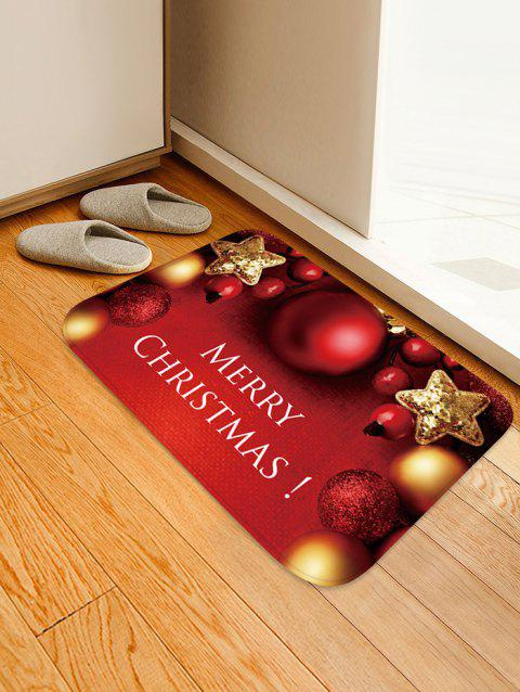 Christmas Star Bells Pattern Water Absorption Area Rug - RED W20 X L31.5 INCH