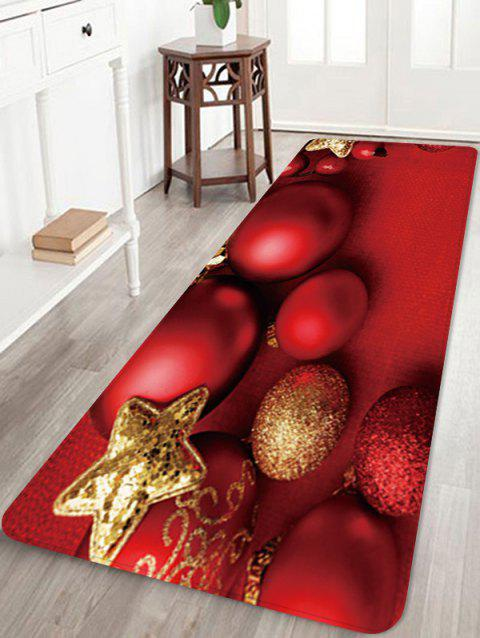 Christmas Balls Star Pattern Water Absorption Area Rug - RED W24 X L71 INCH