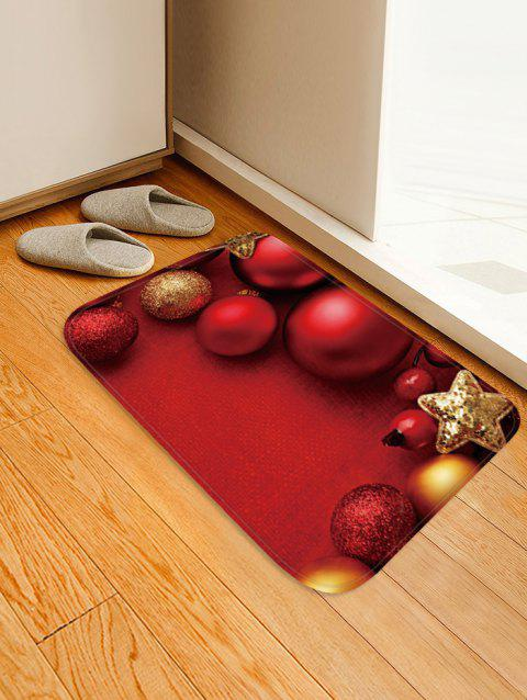 Christmas Balls Star Pattern Water Absorption Area Rug - RED W16 X L24 INCH