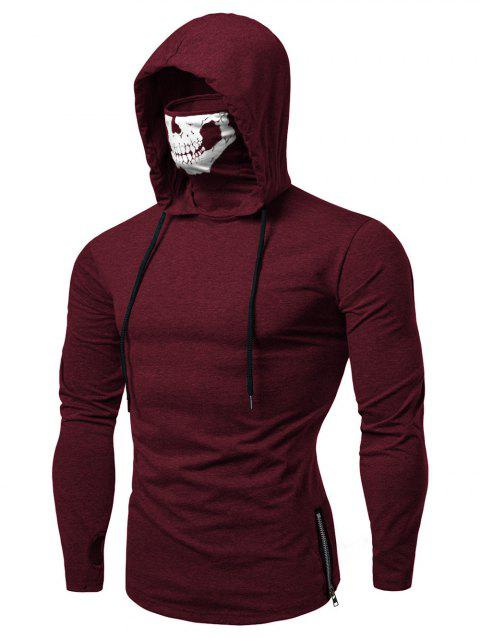 Fashion Drawstring Scare Mask Hoodie for Man - RED WINE 2XL
